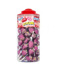 A full jar of 50 Lollipops that are cola flavour with a bubblegum centre