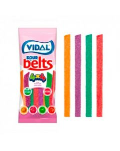 Vidal sour belts, fizzy sour sweets which are suitable for vegans
