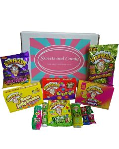 A sweets and candy hamper box full of sour warheads American Candy
